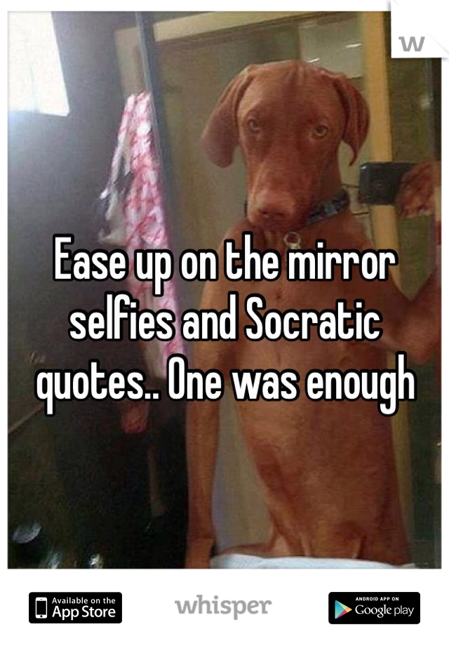 Ease up on the mirror selfies and Socratic quotes.. One was ...