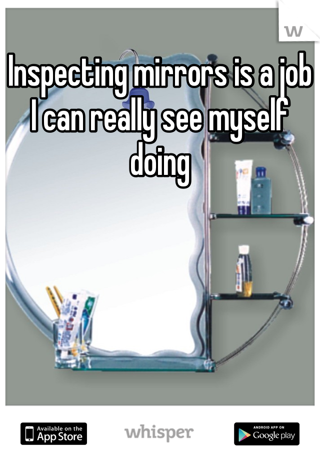 Inspecting mirrors is a job I can really see myself doing