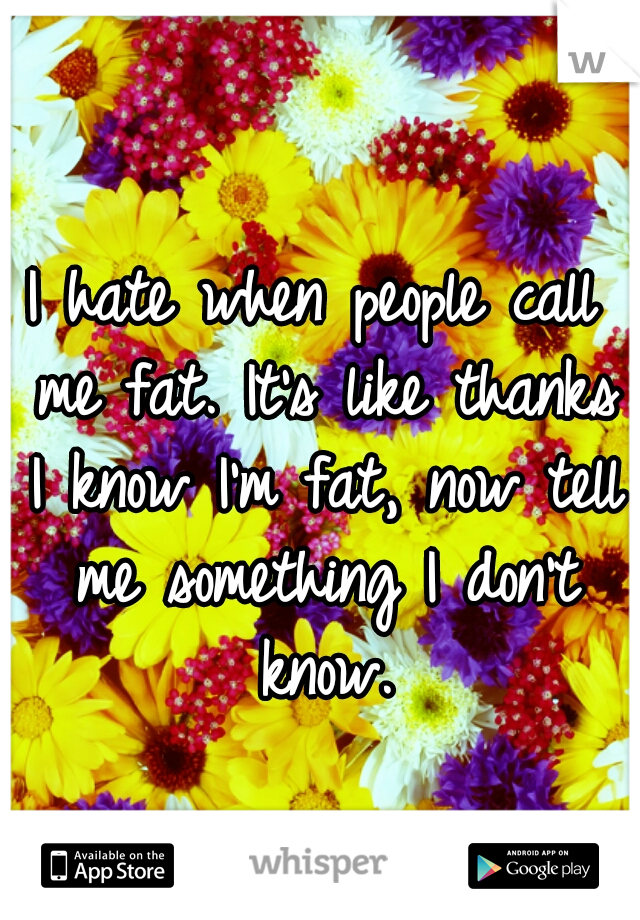 I hate when people call me fat. It's like thanks I know I'm fat, now tell me something I don't know.
