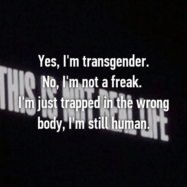 Yes, I'm transgender. No, I'm not a freak.  I'm just trapped in the wrong body, I'm still human.