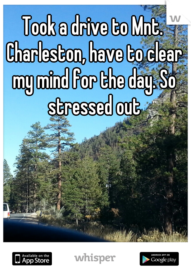Took a drive to Mnt. Charleston, have to clear my mind for the day. So stressed out