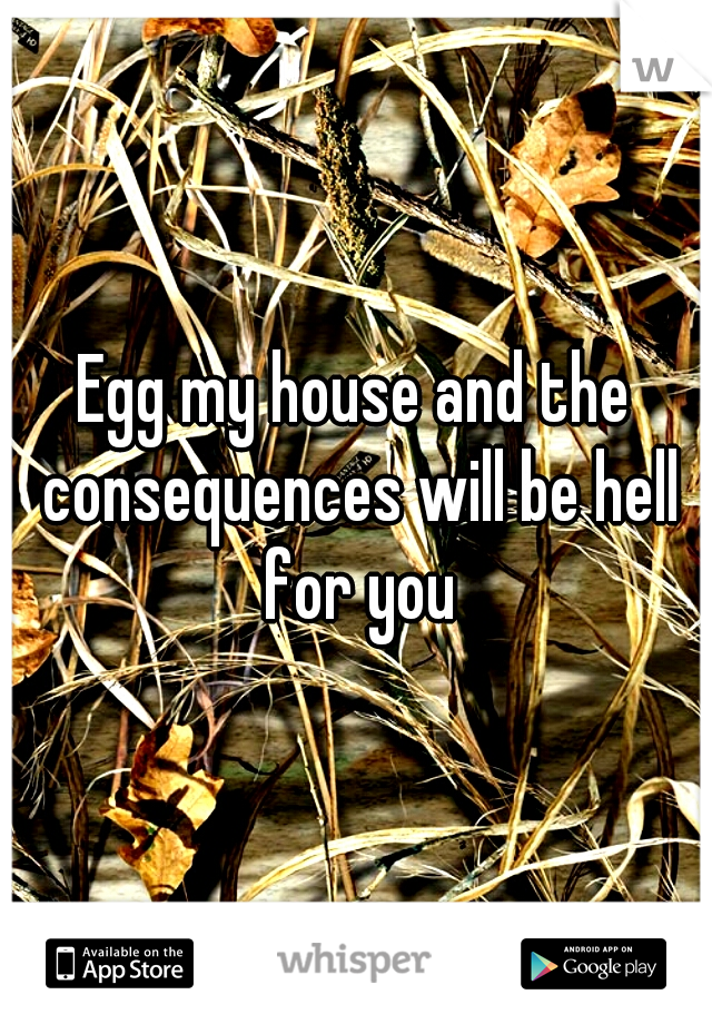 Egg my house and the consequences will be hell for you