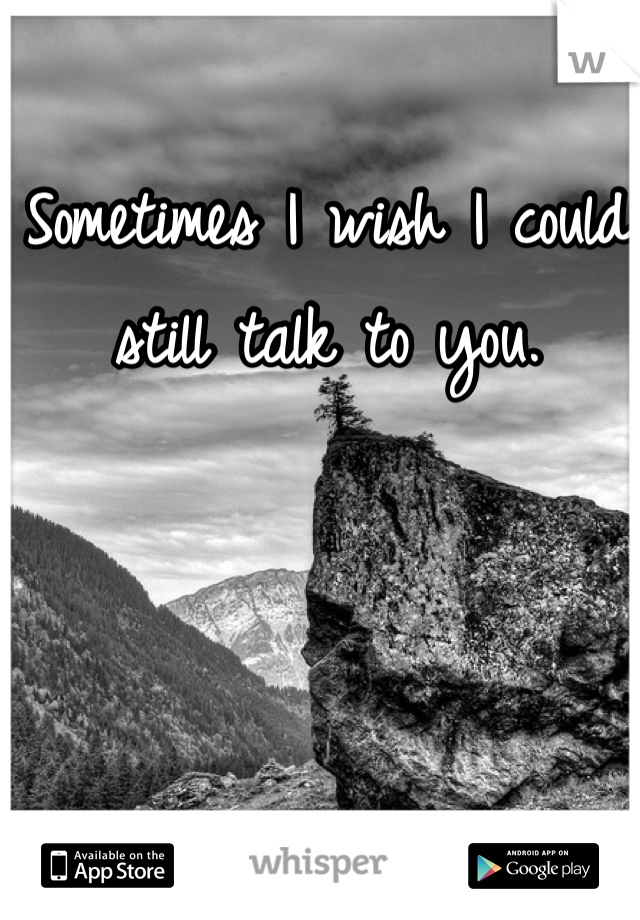 Sometimes I wish I could still talk to you.