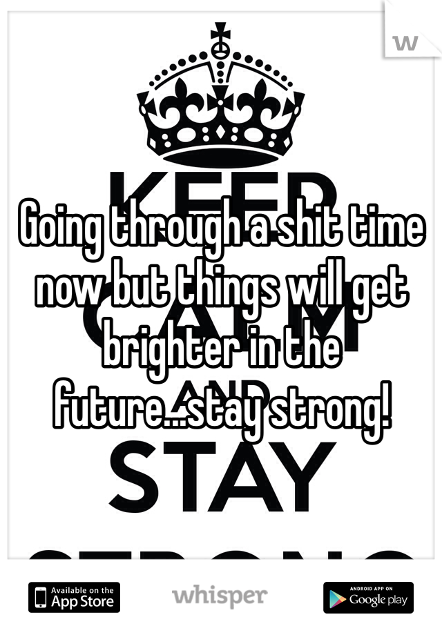 Going through a shit time now but things will get brighter in the future...stay strong!