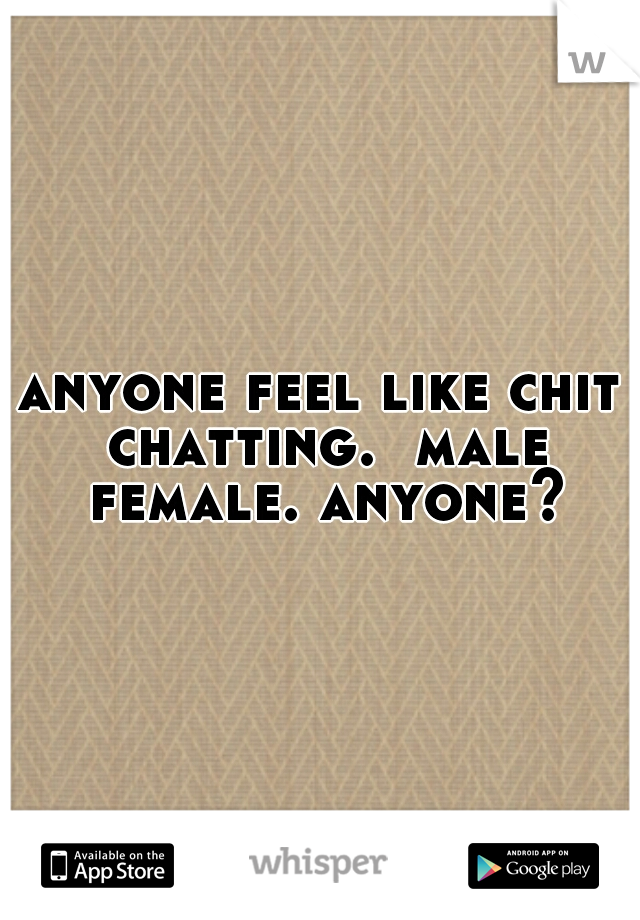 anyone feel like chit chatting.  male female. anyone?