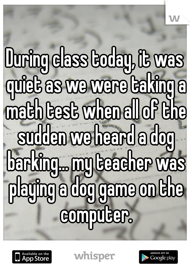 During class today, it was quiet as we were taking a math test when all of the sudden we heard a dog barking... my teacher was playing a dog game on the computer.