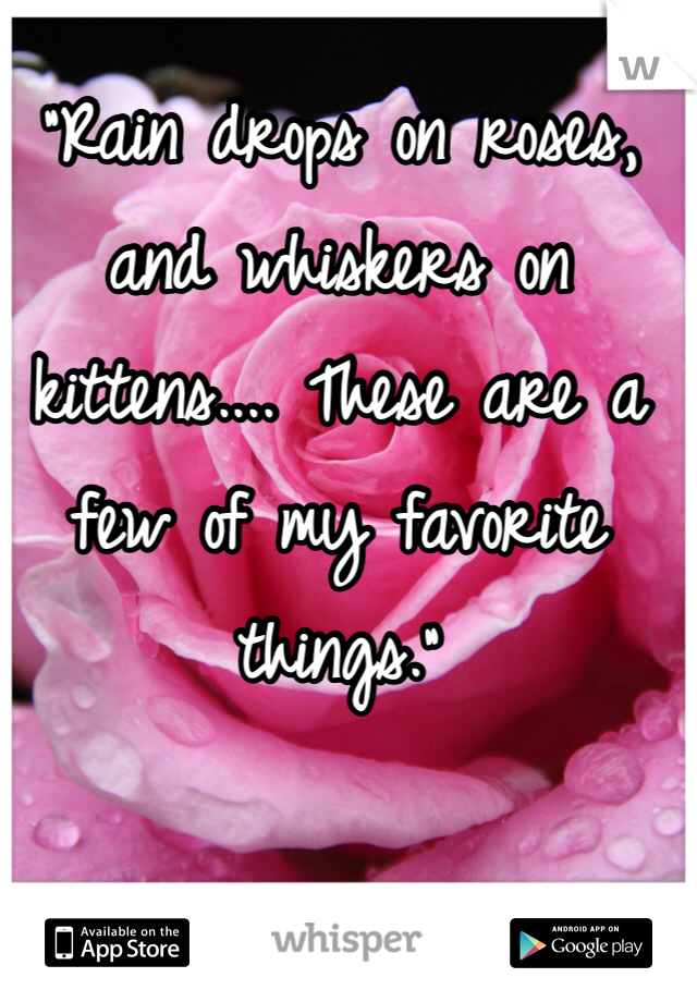 """""""Rain drops on roses, and whiskers on kittens.... These are a few of my favorite things."""""""
