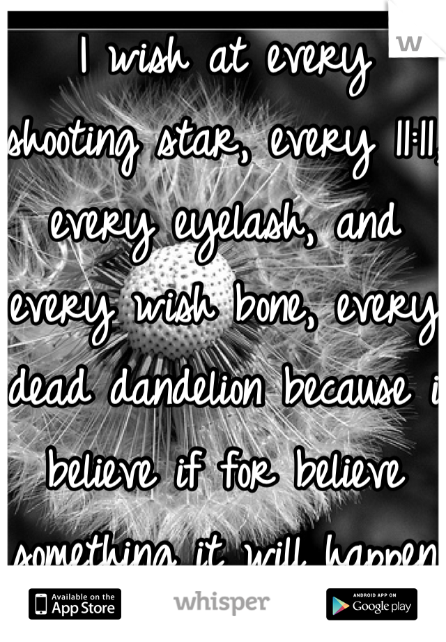 I wish at every shooting star, every 11:11, every eyelash, and every wish bone, every dead dandelion because i believe if for believe something it will happen