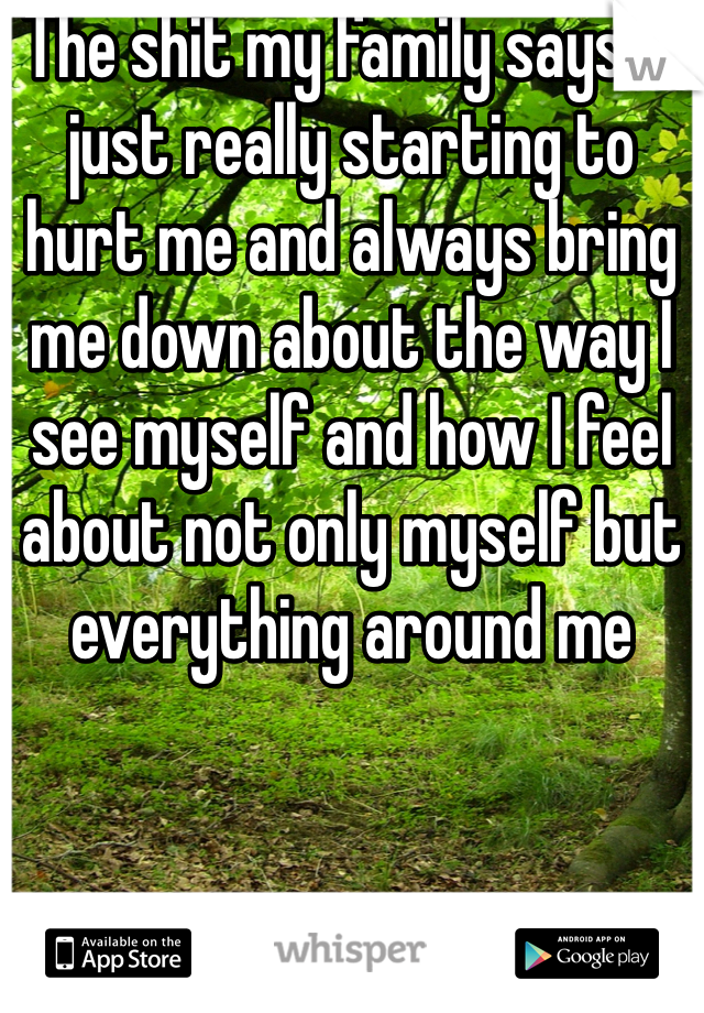 The shit my family says is just really starting to hurt me and always bring me down about the way I see myself and how I feel about not only myself but everything around me