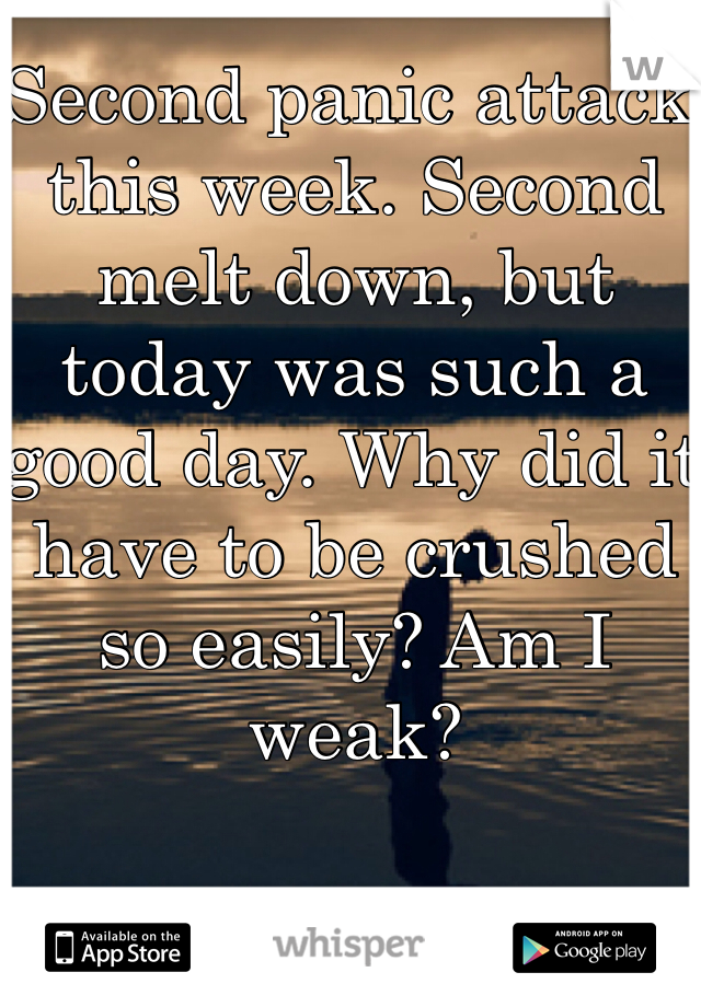 Second panic attack this week. Second melt down, but today was such a good day. Why did it have to be crushed so easily? Am I weak?