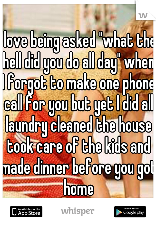 """I love being asked """"what the hell did you do all day"""" when I forgot to make one phone call for you but yet I did all laundry cleaned the house took care of the kids and made dinner before you got home"""