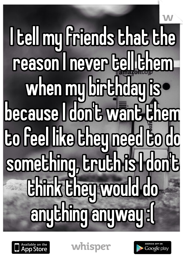 I tell my friends that the reason I never tell them when my birthday is because I don't want them to feel like they need to do something, truth is I don't think they would do anything anyway :(