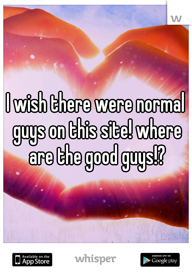 I wish there were normal guys on this site! where are the good guys!?