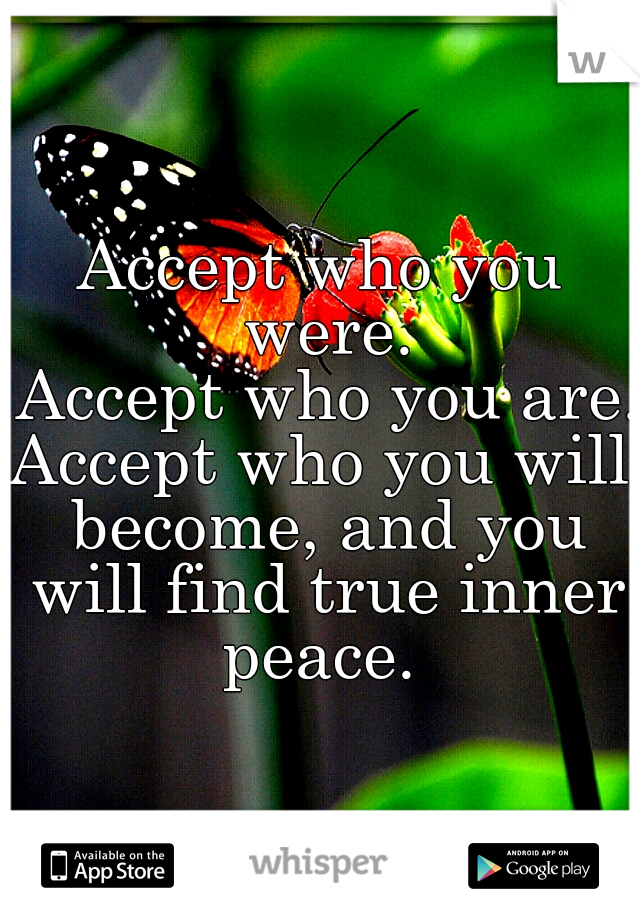 Accept who you were.  Accept who you are.  Accept who you will become, and you will find true inner peace.