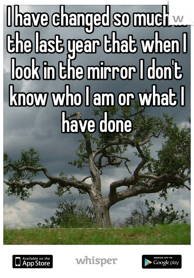 I have changed so much in the last year that when I look in the mirror I don't know who I am or what I have done