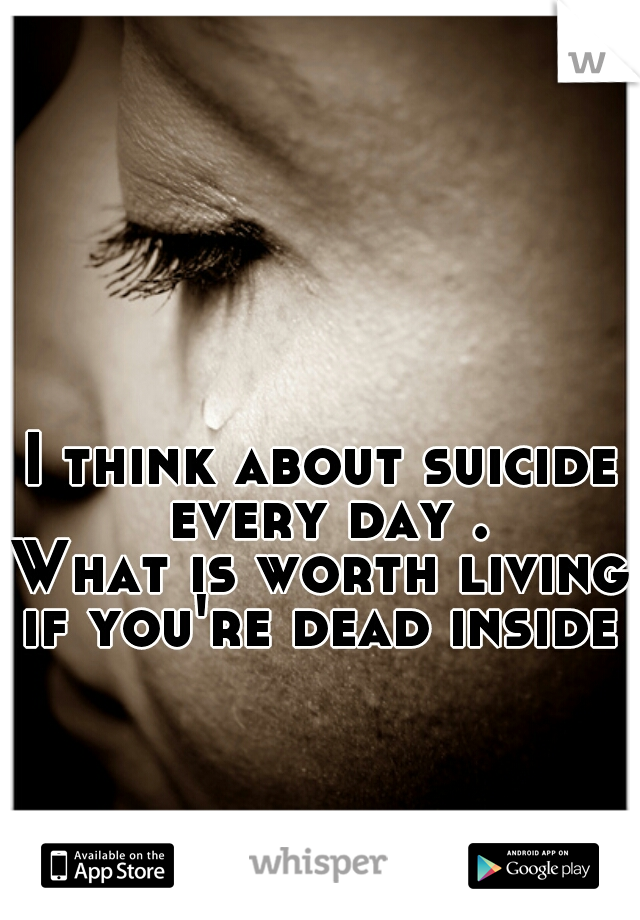 I think about suicide every day . What is worth living if you're dead inside