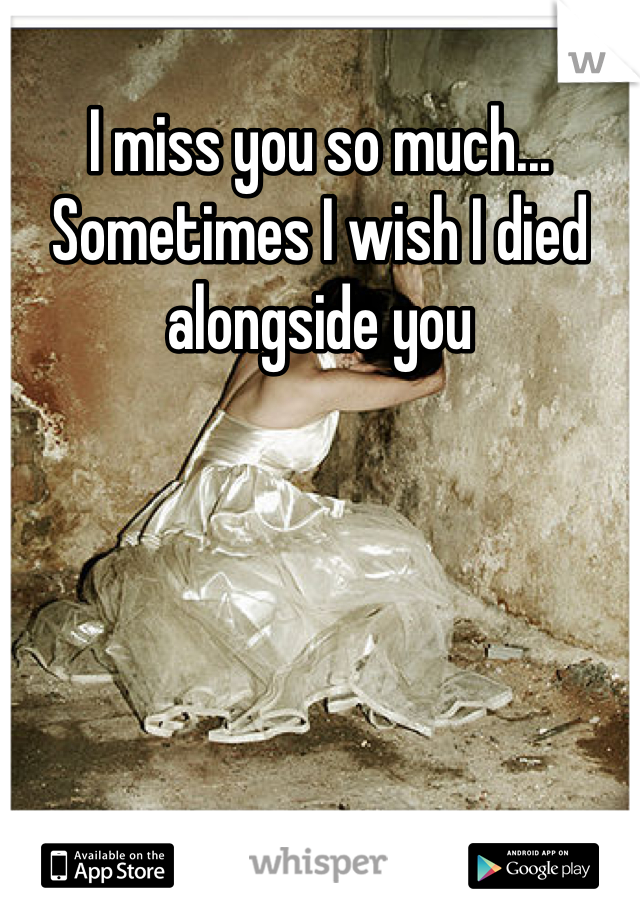 I miss you so much... Sometimes I wish I died alongside you