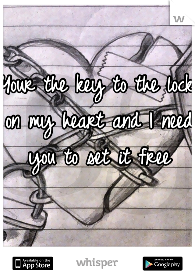 Your the key to the lock on my heart and I need you to set it free