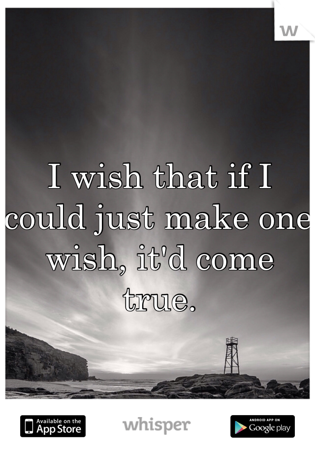 I wish that if I could just make one wish, it'd come true.