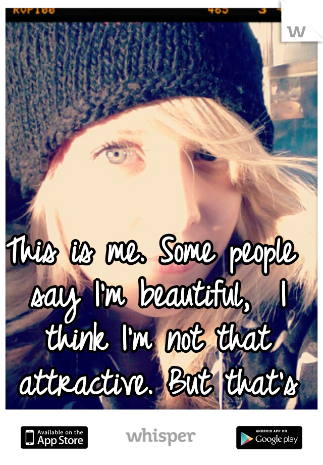This is me. Some people say I'm beautiful,  I think I'm not that attractive. But that's my opinion.