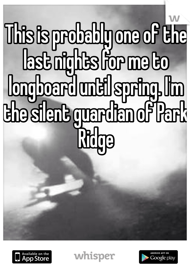 This is probably one of the last nights for me to longboard until spring. I'm the silent guardian of Park Ridge
