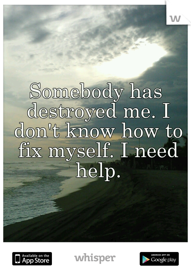 Somebody has destroyed me. I don't know how to fix myself. I need help.