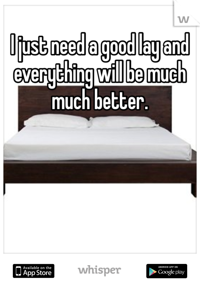 I just need a good lay and everything will be much much better.