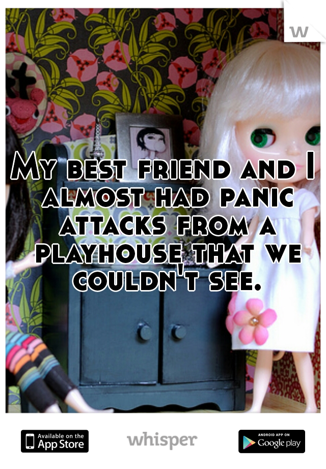 My best friend and I almost had panic attacks from a playhouse that we couldn't see.