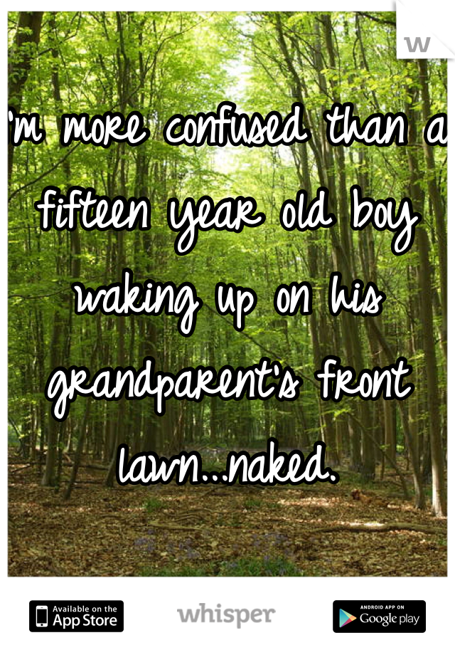 I'm more confused than a fifteen year old boy waking up on his grandparent's front lawn...naked.