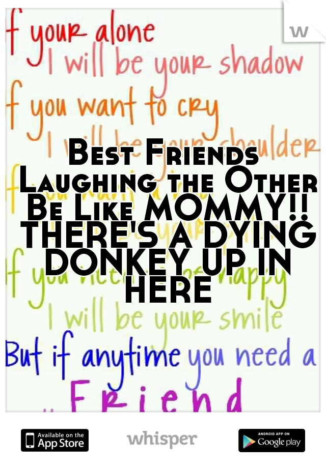 Best Friends Laughing the Other Be Like MOMMY!! THERE'S A DYING DONKEY UP IN HERE