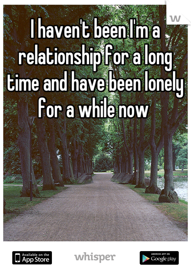 I haven't been I'm a relationship for a long time and have been lonely for a while now
