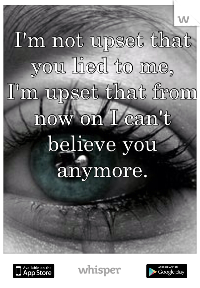 I'm not upset that you lied to me, I'm upset that from now on I can't believe you anymore.
