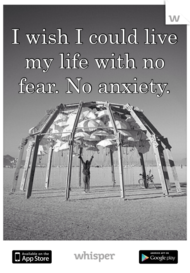 I wish I could live my life with no fear. No anxiety.