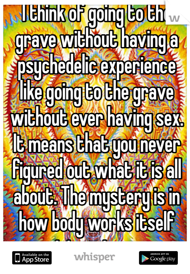 I think of going to the grave without having a psychedelic experience like going to the grave without ever having sex. It means that you never figured out what it is all about. The mystery is in how body works itself into nature.