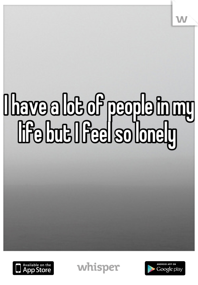 I have a lot of people in my life but I feel so lonely