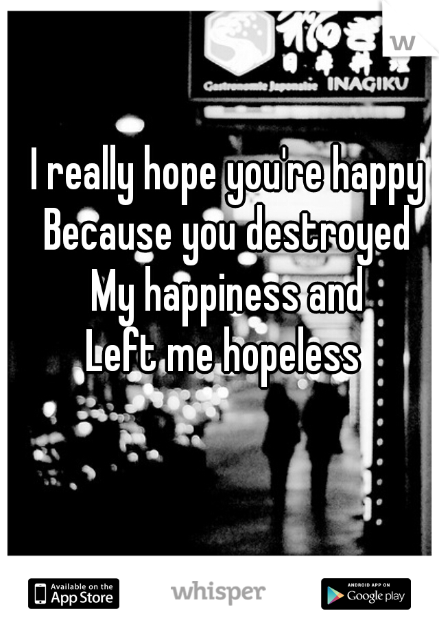 I really hope you're happy  Because you destroyed  My happiness and  Left me hopeless
