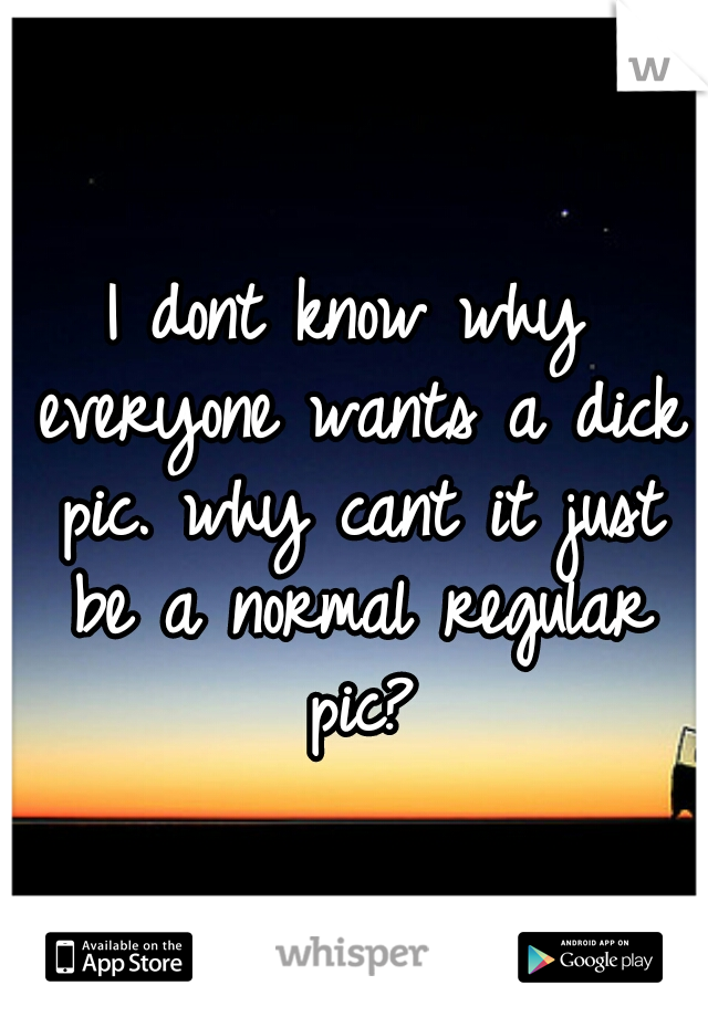 I dont know why everyone wants a dick pic. why cant it just be a normal regular pic?