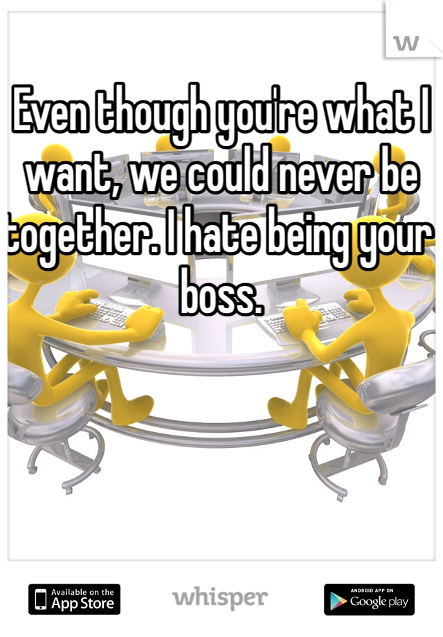 Even though you're what I want, we could never be together. I hate being your boss.