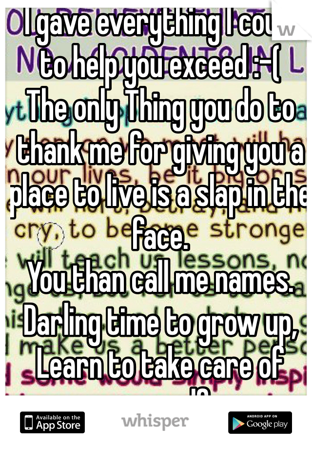 I gave everything I could to help you exceed :-(  The only Thing you do to thank me for giving you a place to live is a slap in the face.  You than call me names. Darling time to grow up, Learn to take care of your self, Act your age for once. Just dnt talk shit when I've always been there hashtag# feeling hurt