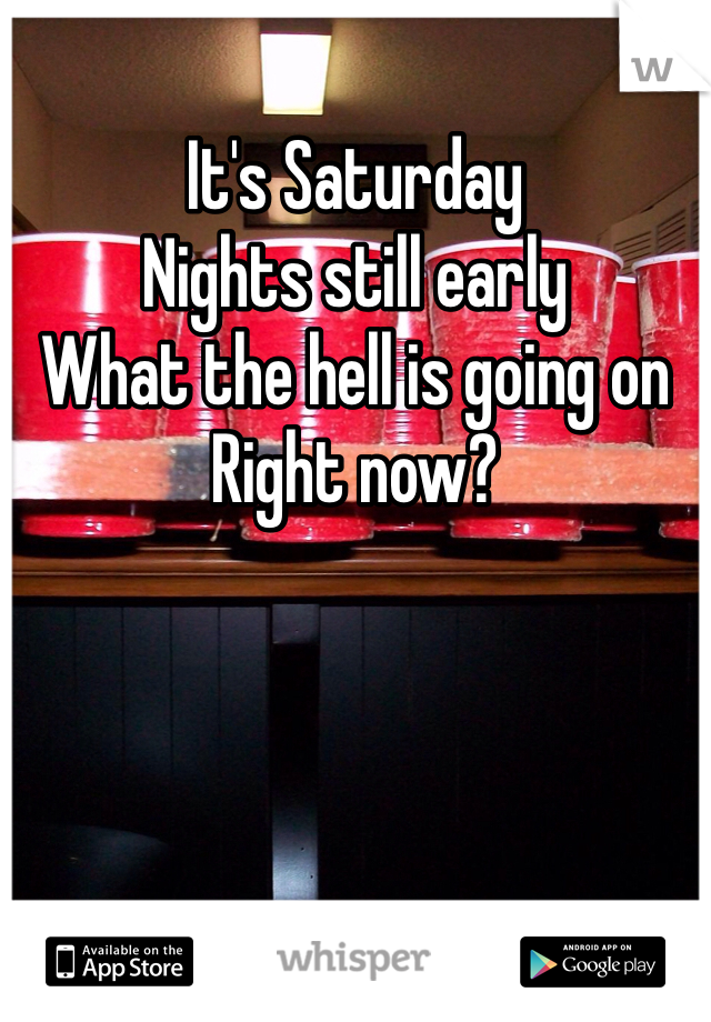 It's Saturday Nights still early What the hell is going on  Right now?