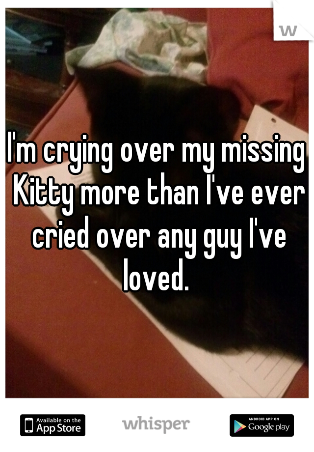 I'm crying over my missing Kitty more than I've ever cried over any guy I've loved.