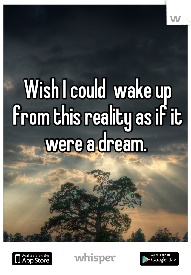 Wish I could  wake up from this reality as if it were a dream.