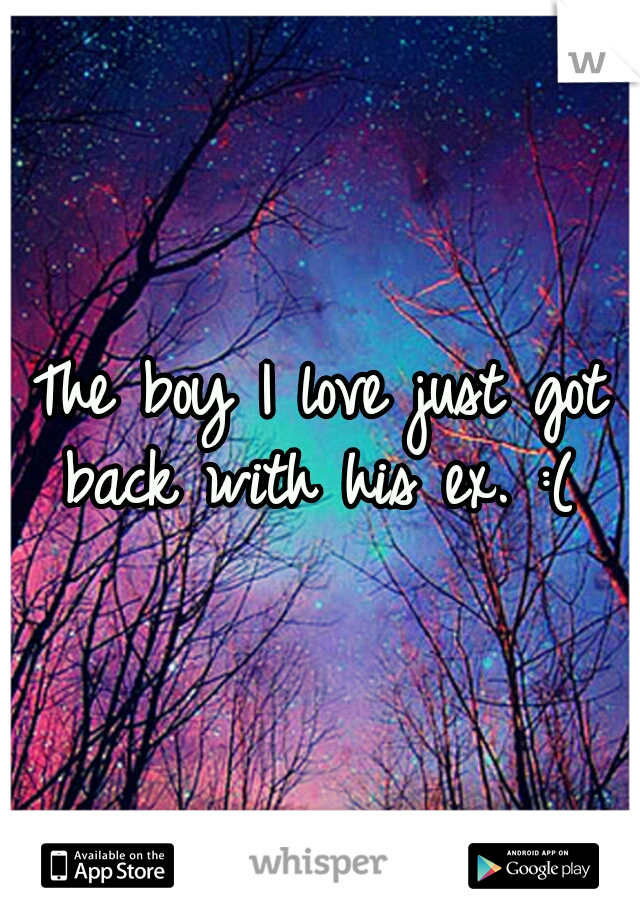 The boy I love just got back with his ex. :(