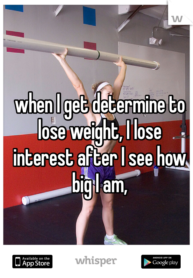 when I get determine to lose weight, I lose interest after I see how big I am,