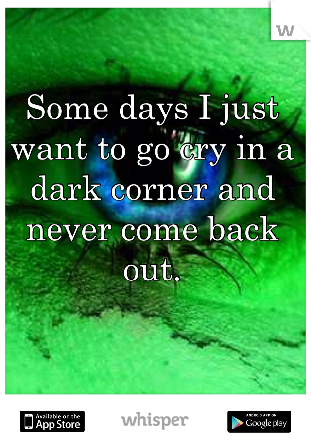 Some days I just want to go cry in a dark corner and never come back out.