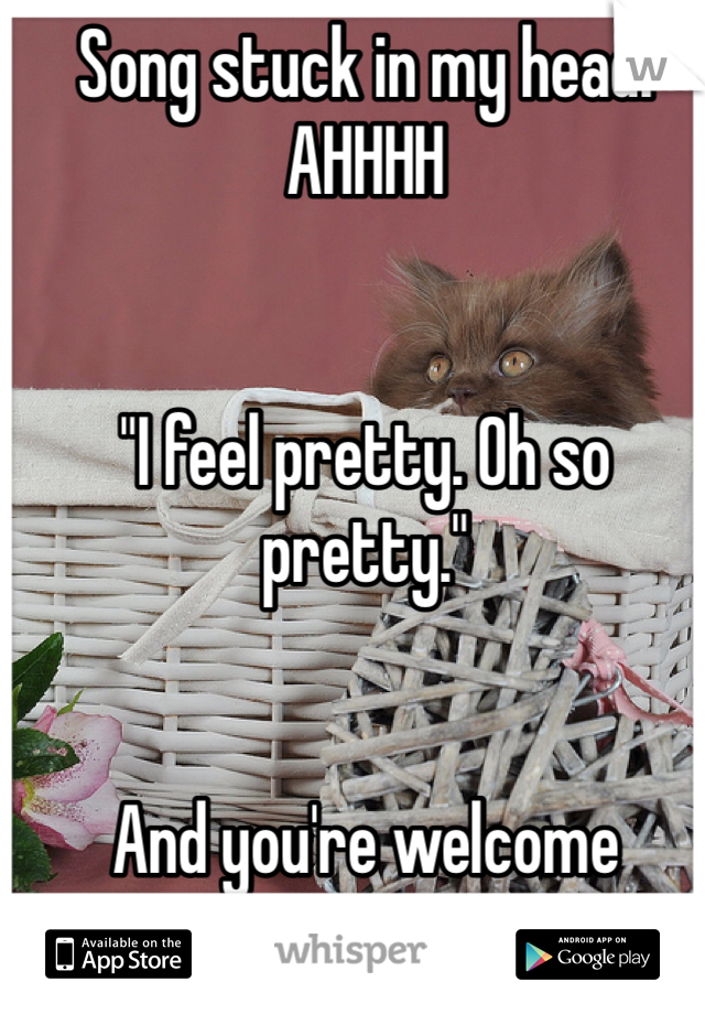 """Song stuck in my head! AHHHH   """"I feel pretty. Oh so pretty.""""    And you're welcome"""
