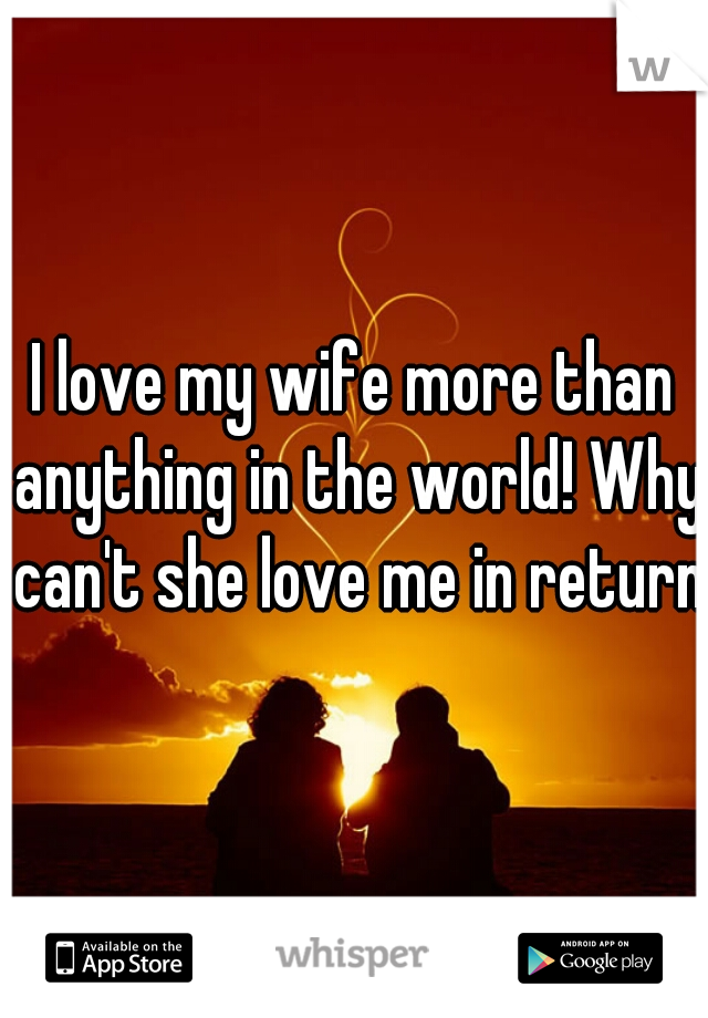 I love my wife more than anything in the world! Why can't she love me in return?