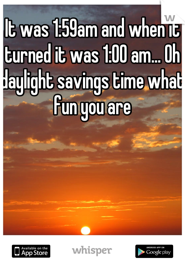 It was 1:59am and when it turned it was 1:00 am... Oh daylight savings time what fun you are