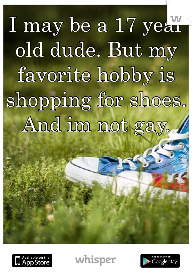 I may be a 17 year old dude. But my favorite hobby is shopping for shoes. And im not gay.