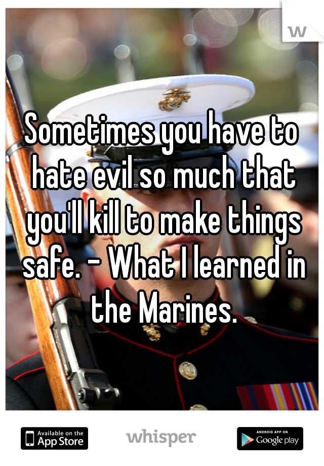 Sometimes you have to hate evil so much that you'll kill to make things safe. - What I learned in the Marines.